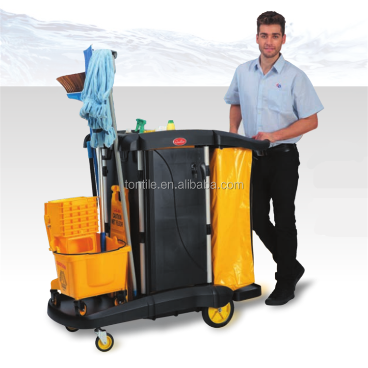 2015 New Luxury Type Janitor cart cleaning trolley with housekeeping equipments