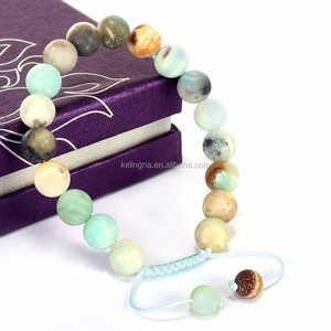 Wholesale 10mm 7.5 Inch Chrysoprase Agate Gemstone Adjustable Wire Bangle Bracelet (Jewelry Box is not Included)