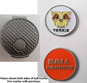 Ball Barkers Yorkie Golf Ball Marker & Hat Clip Orange