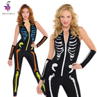 Punk Style Skeleton Skull Print Sheath Leotard Bodysuit Halloween Costume Catsuit Sexy Adults Jumpsuit