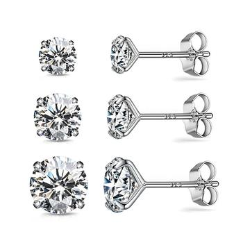 2019 clip on blue agent Silver sterling earing ,  cubic zirconia Diamond Wedding women stud earring piercing jewelry gifts