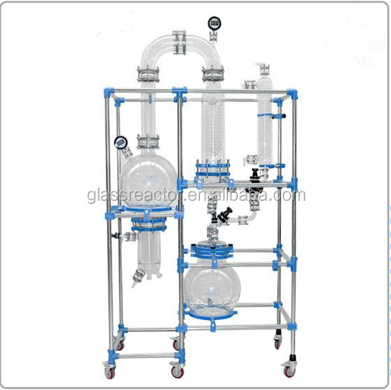 50L 1000L Glass distiller jacketed glass reactor with rectification column (OEM)
