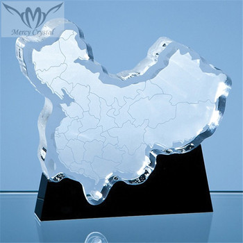 Laser Cut Map Crystal Country Awards for New Year Office Decoration