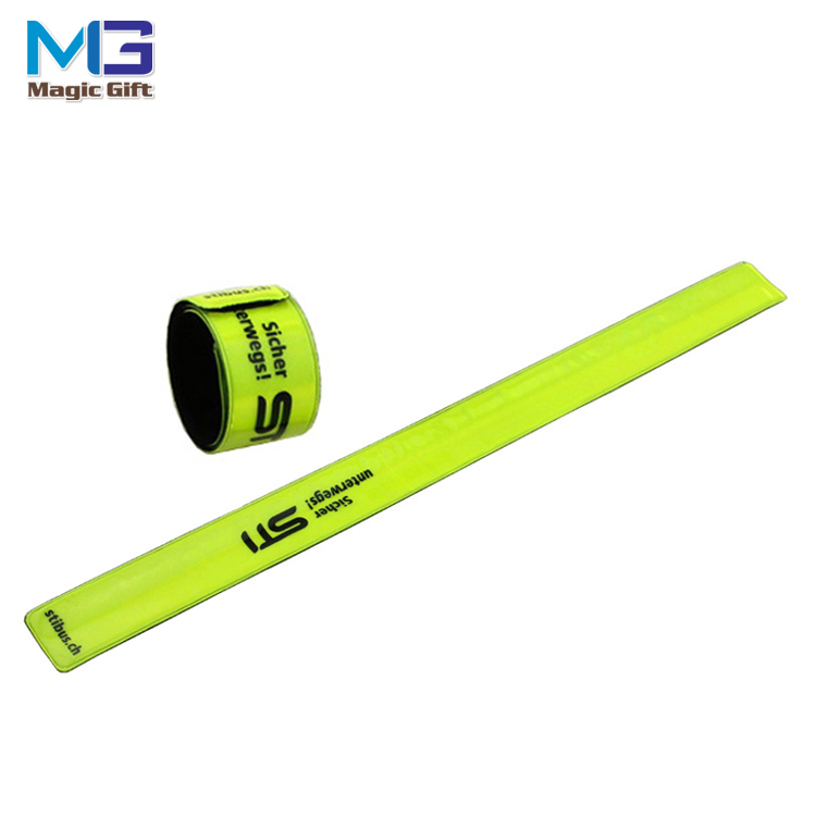 High quality reflective PVC Slap Band Wholesale custom Snap Slap Bracelet