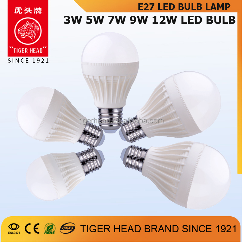 High lumen E27 3 5 7 9 12 watt dimmable led bulb with CE ROHS