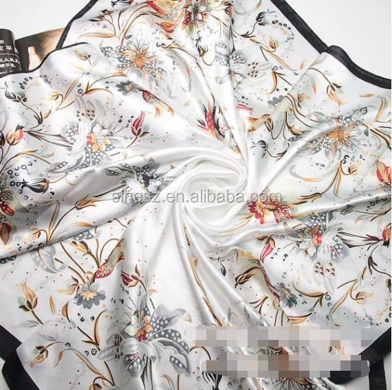 Custom Square Pink Floral design Digital Print Silk Scarf shawl women