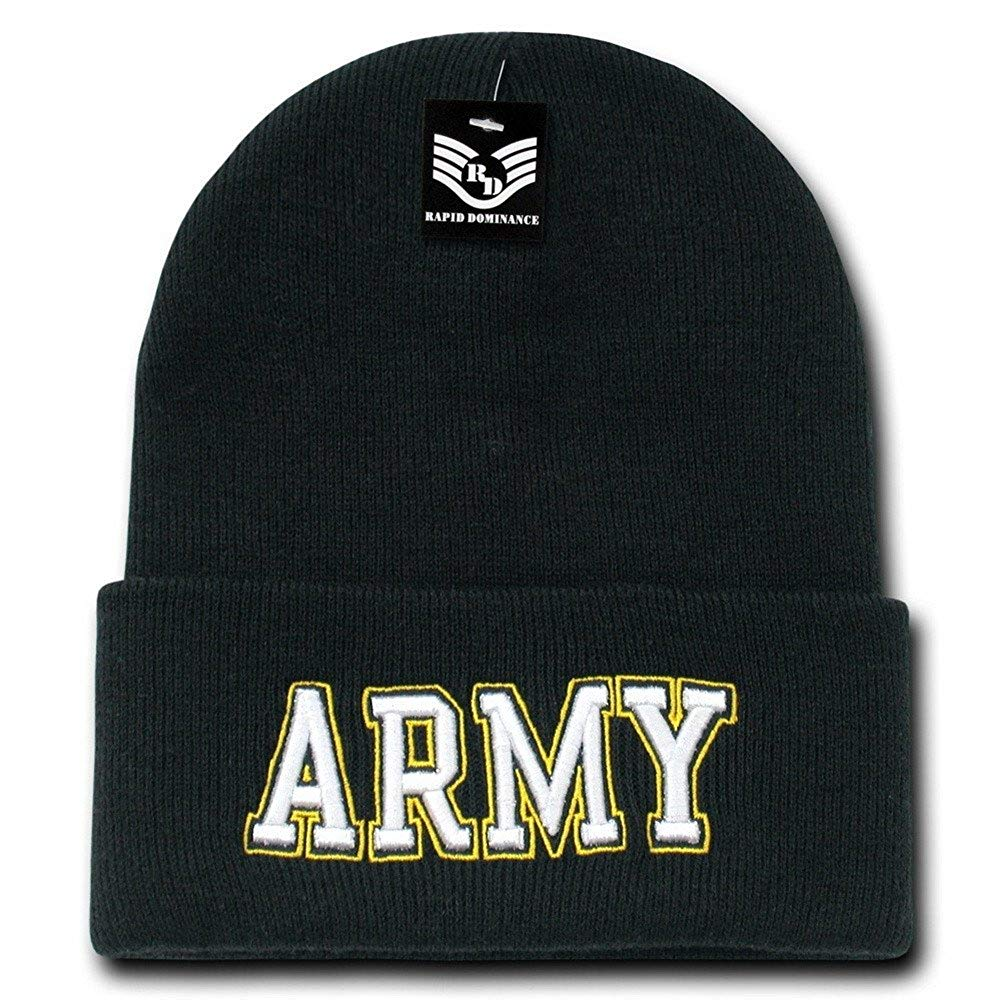 84ff34b7a33 Get Quotations · Military Embroidered Knit Winter Long Beanie - Army Text
