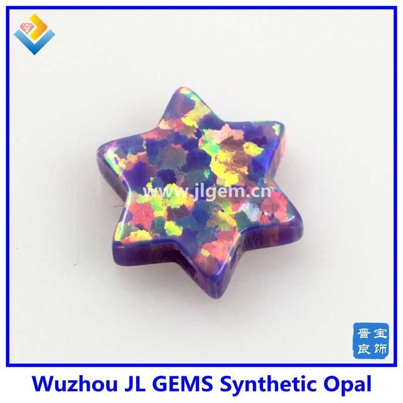 Hot sale synthetic opal david star charm fire purple op38 10mm star of david pendant for fashion jewelry making