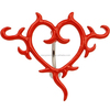 Red Top Drop Heart Tattoo Reverse Belly Navel Ring Body Piercing Jewelry