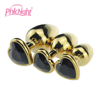 Medium heart shape stainless steel anal plug anal plug butt with golden color