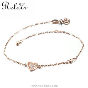 925 sterling silver material rose gold plated love heart shape white cz stone bangle bracelet
