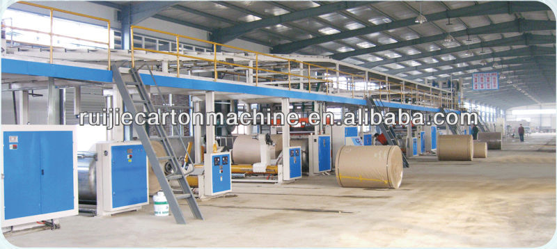 Fully automatic 5 layer corrugated paperboard production line