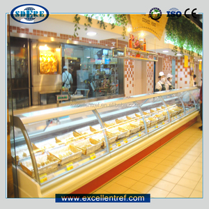 display cooler deli food showcase of service counter type