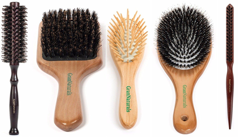 "GranNaturals 5 Piece Everyday Hair Brush Set:Teasing Brush, Round ""Styling"" Brush, Boar Bristle Paddle Brush, Detangling Travel Brush, Boar Bristle ""Porcupine"" Brush"
