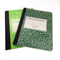 Wholesale A4 green marbling ivory board cover composition book with tape binding