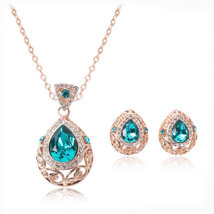 Hollow out pattern auger teardrop shaped crystal necklace earrings wedding jewelry set