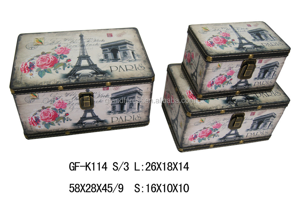Paris Eiffel Tower Fashionable Lady Butterfly Design Storage Boxes