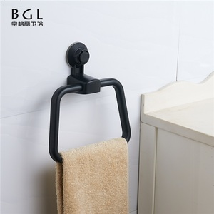 RS8809-32 No Drill ABS Material Cupule Using Towel Ring Black Paint Towel Ring