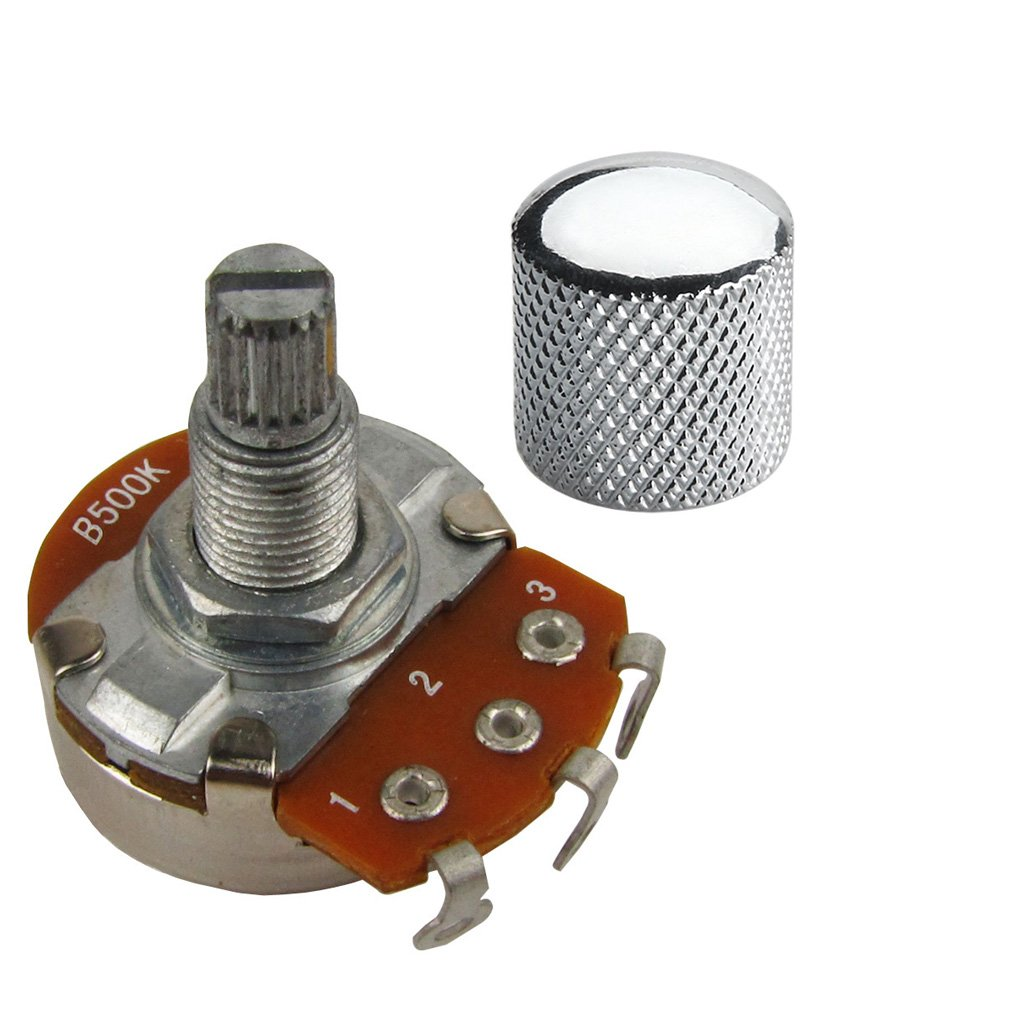 Musiclily B500k Push Pull Split Knurled Short Shaft Metric 15mm Linear Taper Guitar Volume Switch Control Pot Potentiometer for Guitar Bass Parts Chrome Pack of 2