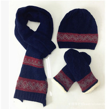 F-3181new winter men cable knitted wool scarf, hat & glove sets for wholesale