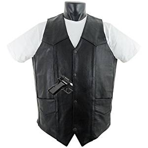 Tall Size Basic Concealed Carry Biker Leather Vest XL