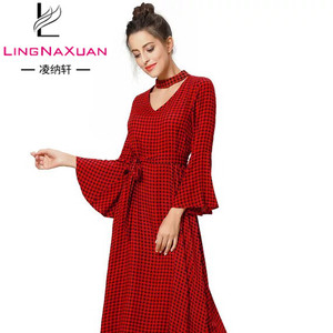 Fashion Printed Knee Length Tartan Loose Dresses Plus Size for Women Lady