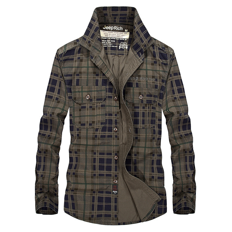 Military Mens Cargo Plaid Shirts Long Sleeve Camisa Masculina Casual, Men Clothing Chemise Homme Slim Fit Shirt Army GreenM-3XL