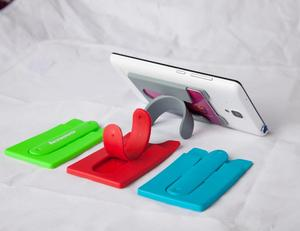 silicone phone card holder/ silicone business card holder/mobile phone stand