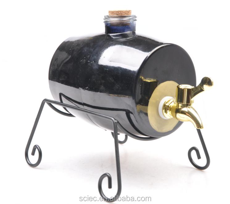 tambour en forme de tonneau de vin avec robinet verre boissons pot avec robinet pot avec. Black Bedroom Furniture Sets. Home Design Ideas