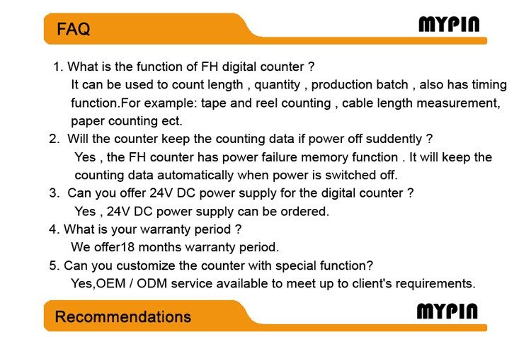 Mypin brand 24V DC relay output textile counter meter(FH8E-6CRRB)