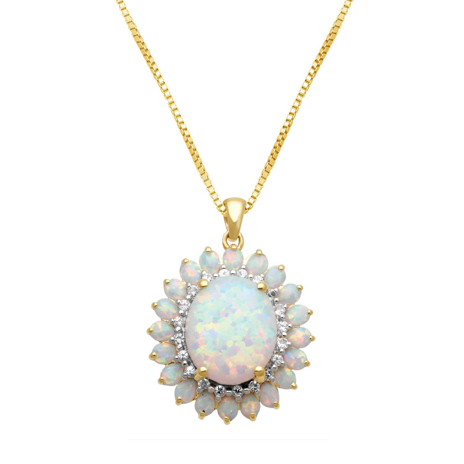 """Jewelili 18K Yellow Gold Plated Sterling Silver 12 X 10 mm Oval Created Opal with Created White Sapphire Blooming Pendant Necklace, 18"""""""