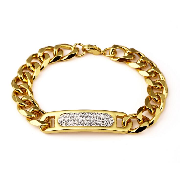 18k Italian Gold Hand Chain Fashion Design Cuban Link ID Bracelets For Men