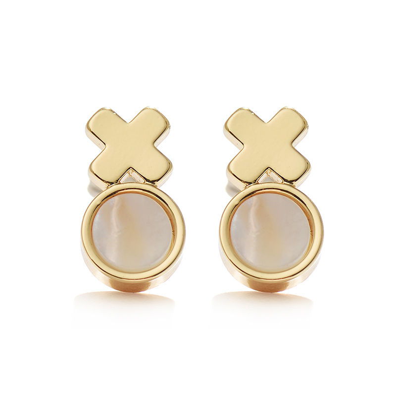 Women <strong>Fashion</strong> 14k Gold & Silver Stud Earrings With Natural Shell Earrings Jewelry