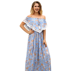 Lady Cloths Women Evening Dresses Printed Flower 2019 Long Dress