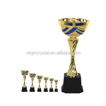 Mixed Color Plated Metal Loving Cup Trophy with Lid for Sport Event