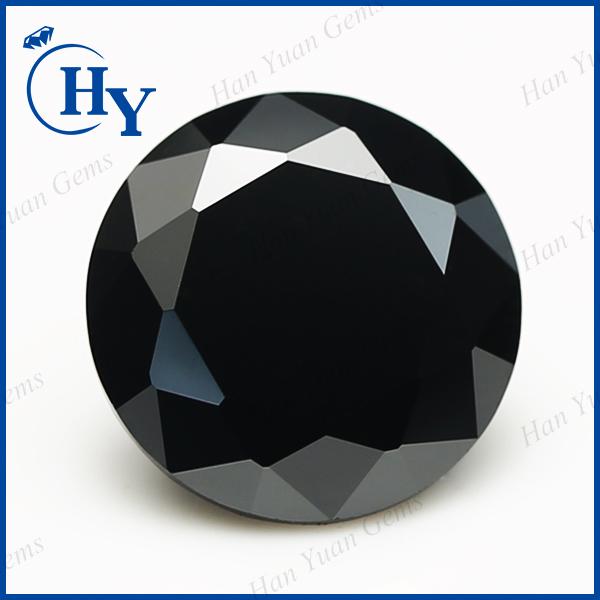 10mm Round Diamond Cut Black Aaa Cz Gemstone