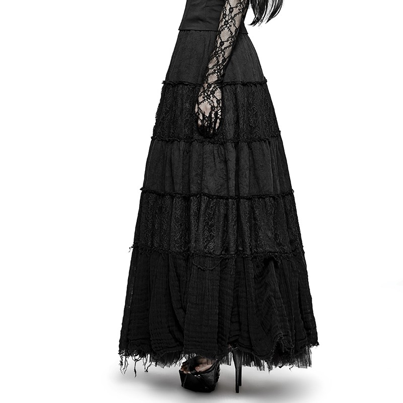 Q-309 Gothic black lace summer long skirts for women