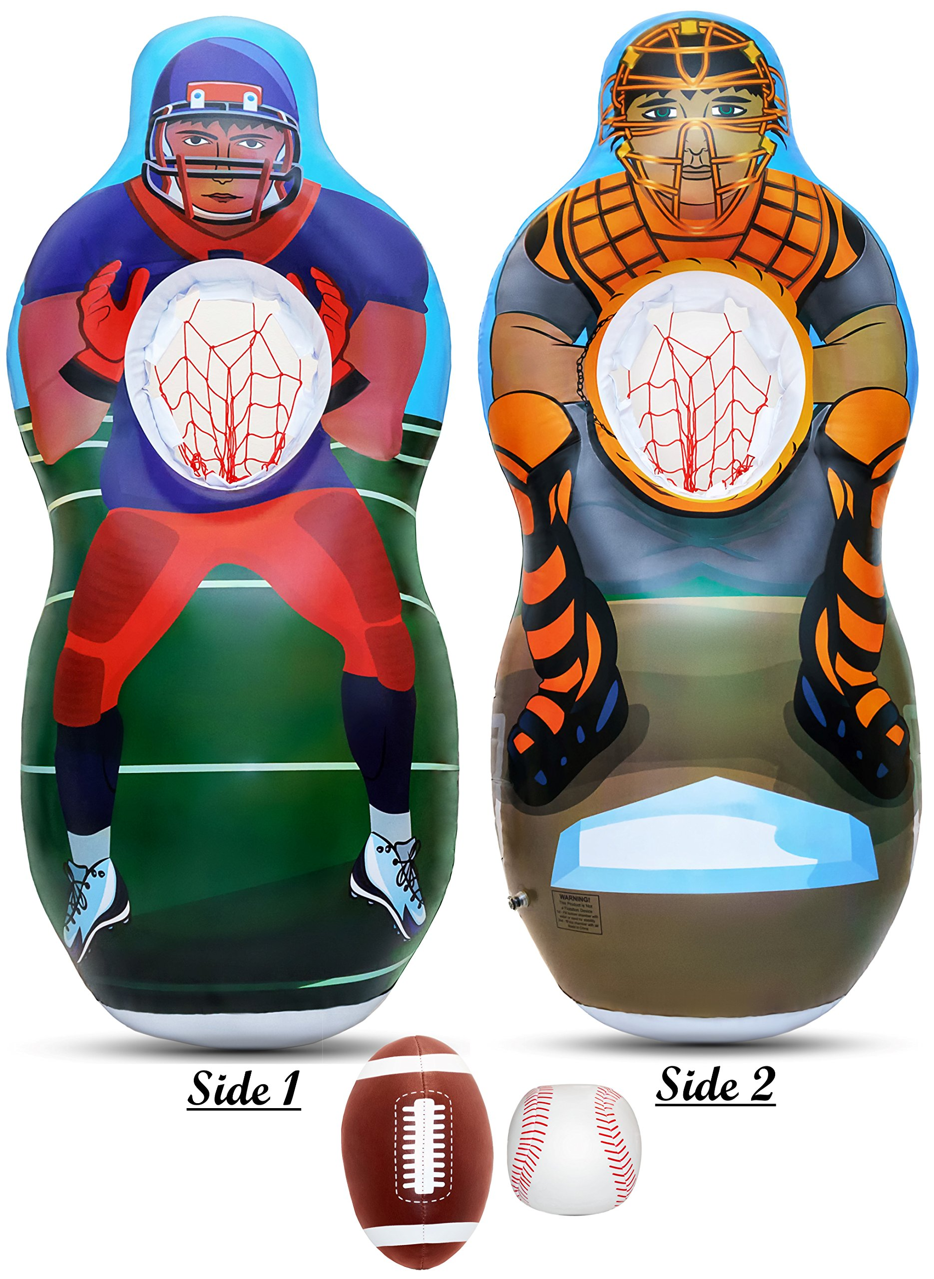 809e9fa3ce4a Get Quotations · Inflatable Two Sided Football & Baseball Target Set -  Includes One Inflatable 5 Foot Tall Target
