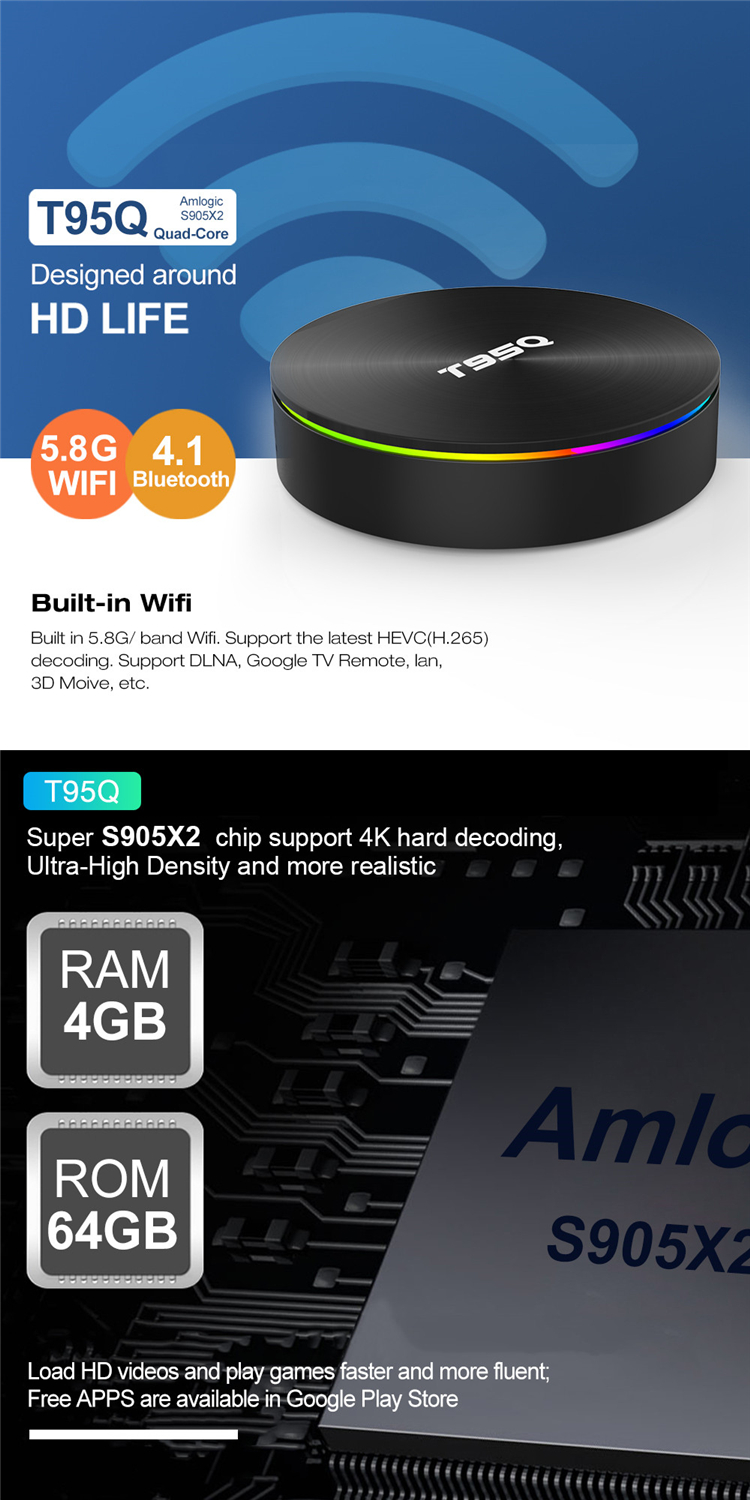 Android 8.1 4GB 32GB Amlogic S905X2 Quad Core 2.4G&5.8G Dual Wifi T95Q BT4.1 1000M H.265 4K 60pfs Media Player