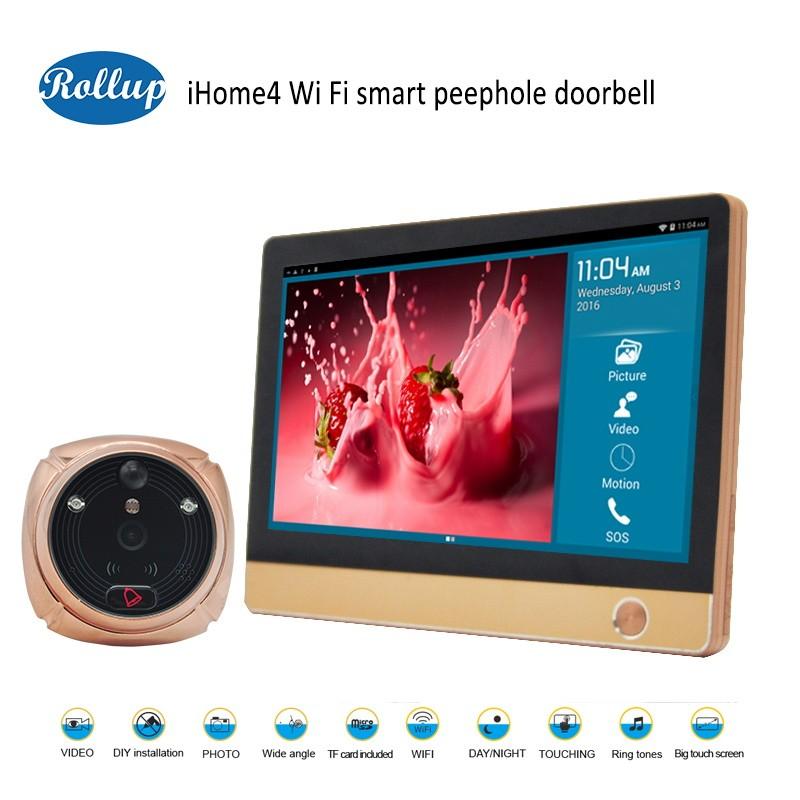 Zinc alloy door eye digital peephole wifi ip cameras doorbell intercom viewer connect to 433MHz home alarm sensor