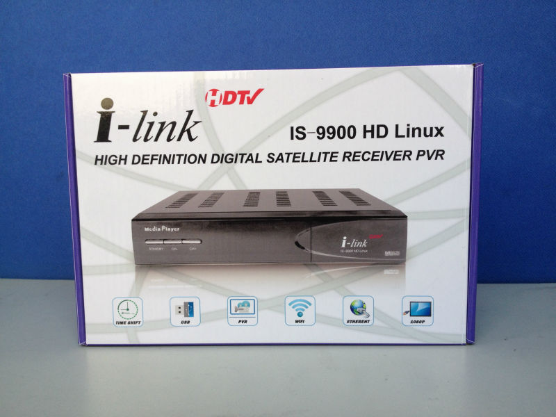 Hua Gang satellite receiver i-link 9900 hd meida palyer with linux turbo 8psk dvb-s2 better more than ilink 9600