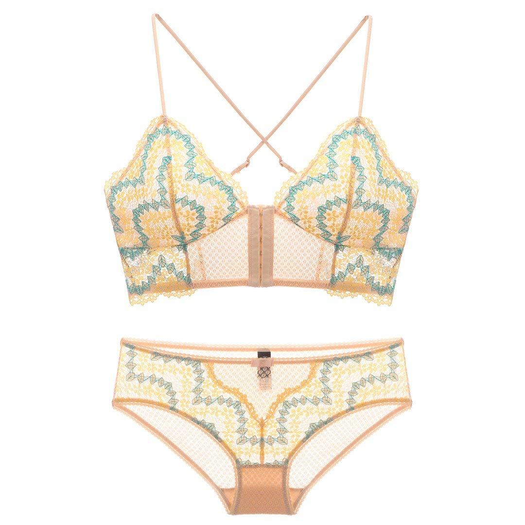 c3913306f3 Get Quotations · MY AGLAIA Front Closure Bra Panty Set Match Lace Triangle Bra  Underwear Women
