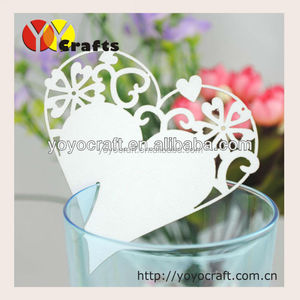 Unique paper heart shape lace wedding favor laser cut wedding place card