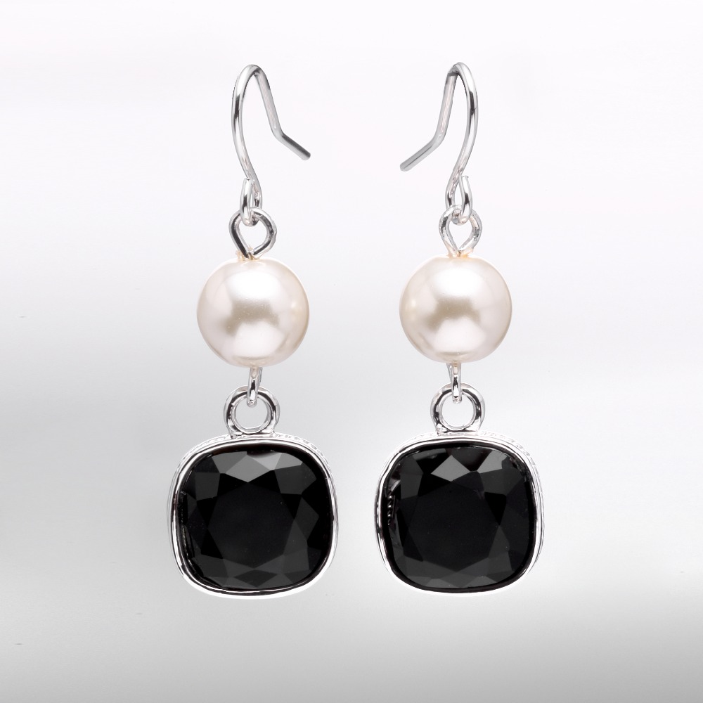 Imitation Rhodium Jewelry Pearl Pendant Earrings Black Glass Stone For Women Gifts