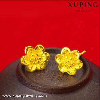 Xuping Gold 24 Karat Women S Latest Design Flowers Stud Earrings