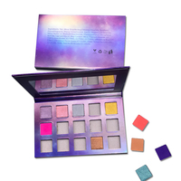 Fashionable empty cosmetics makeup bulk glitter eyeshadow palette private label with mirror