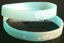 factory directly wholesale cheap custom swirl color silicone rubber baller bangle with glow in dark