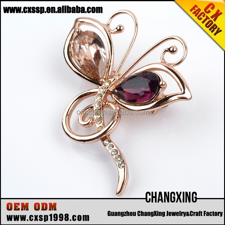 The New Purple Rhinestone Butterfly crown Brooch