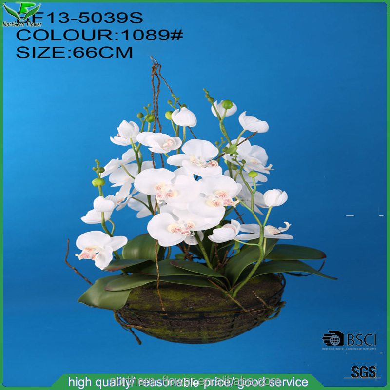 Factory Home Decorative Wholesale Artificial Flower, Silk White Artificial Orchid Wall Hanging Flowers