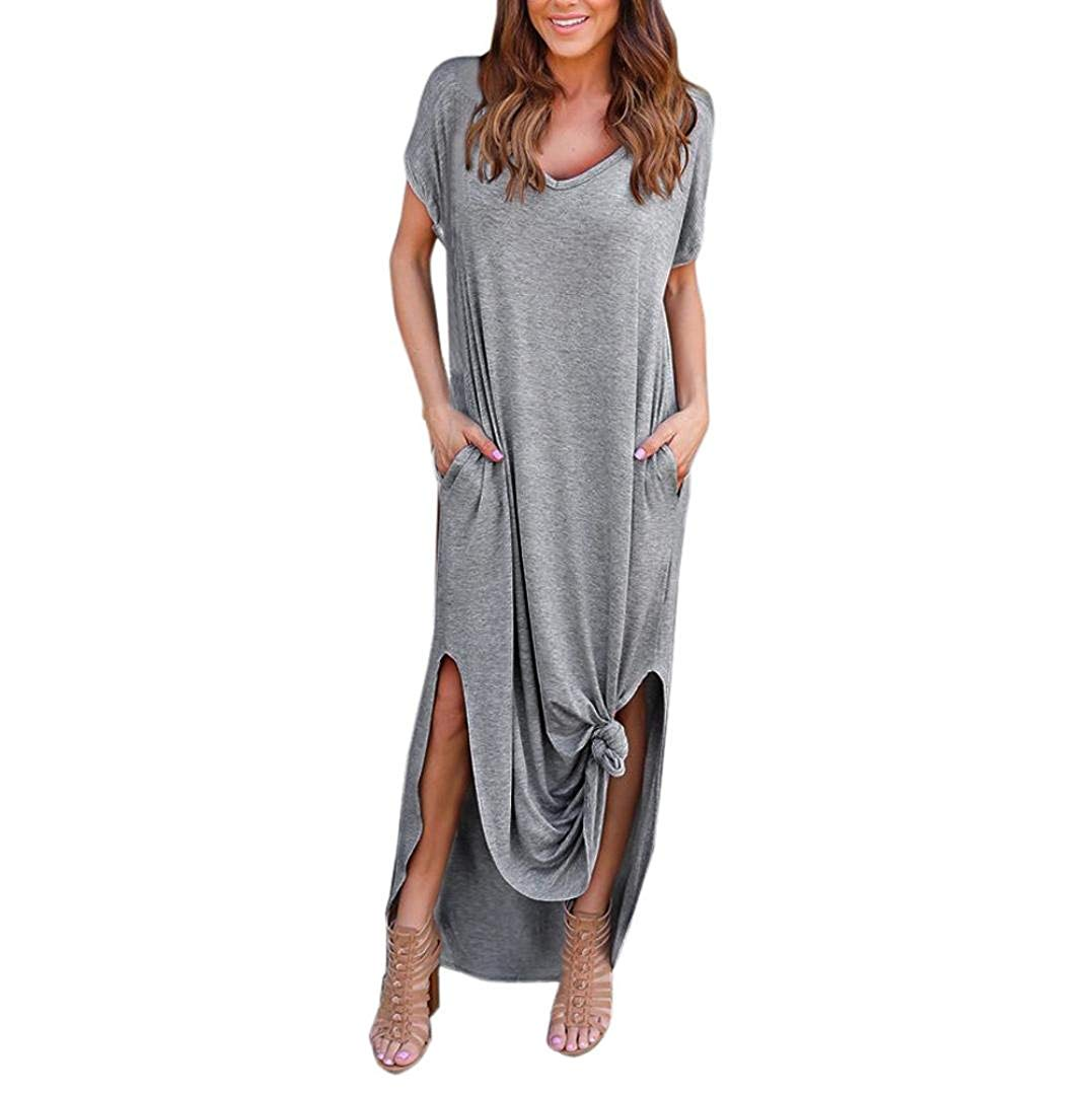 6442350625 Get Quotations · Kimloog Women s Short Sleeve Summer Casual Loose T-Shirt  Long Maxi Dress Side Split Beach